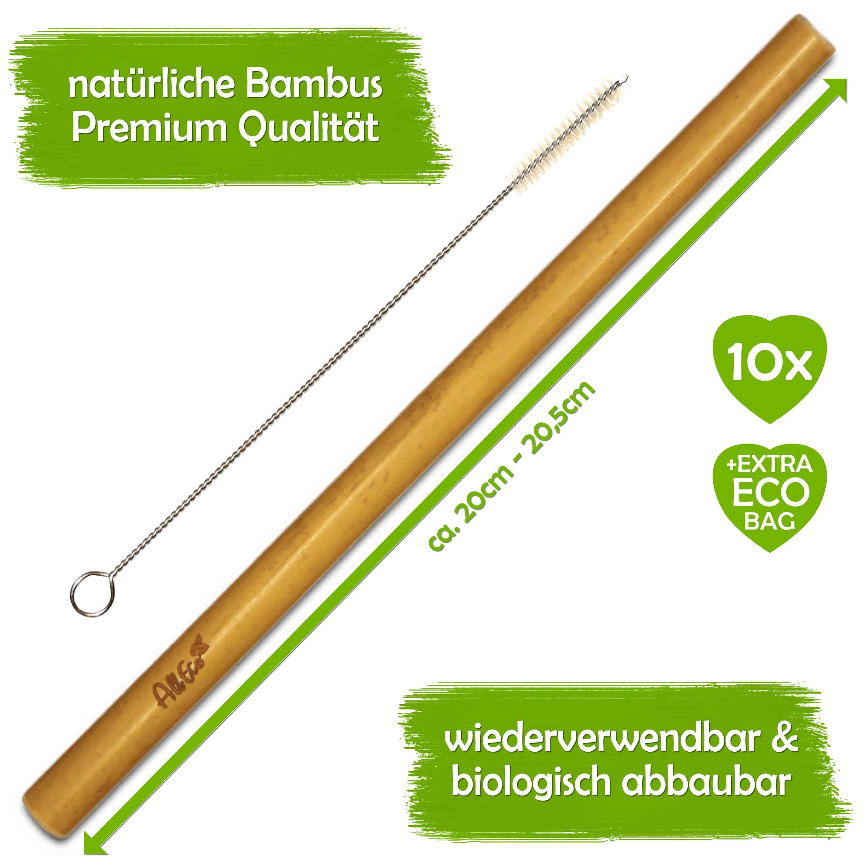 Alleco Bambus Strohhalm 10er Set Reinigungsburste Extra Eco