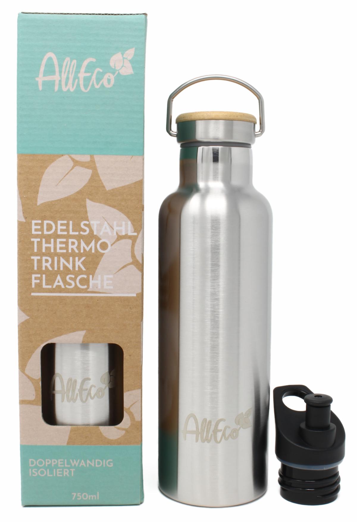 Edelstahl Flasche GOLD Doppelwandig hält Getränke eiskalt heiß Thermos 750 ml